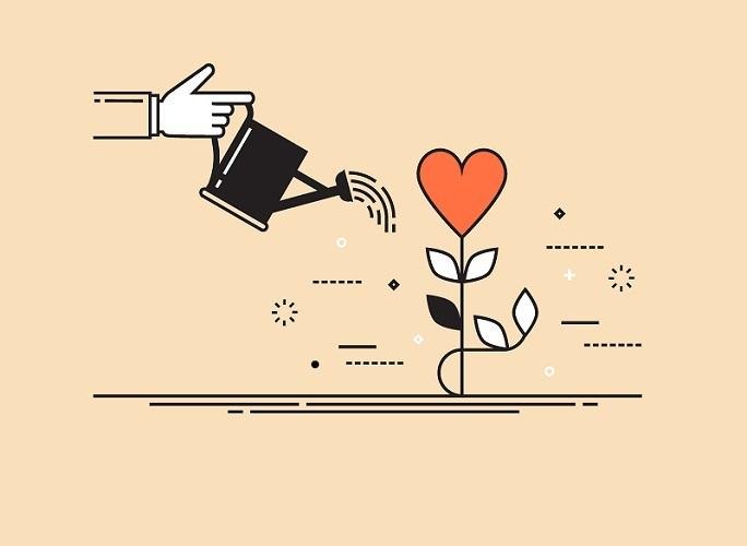 Afbeelding hart met gieter