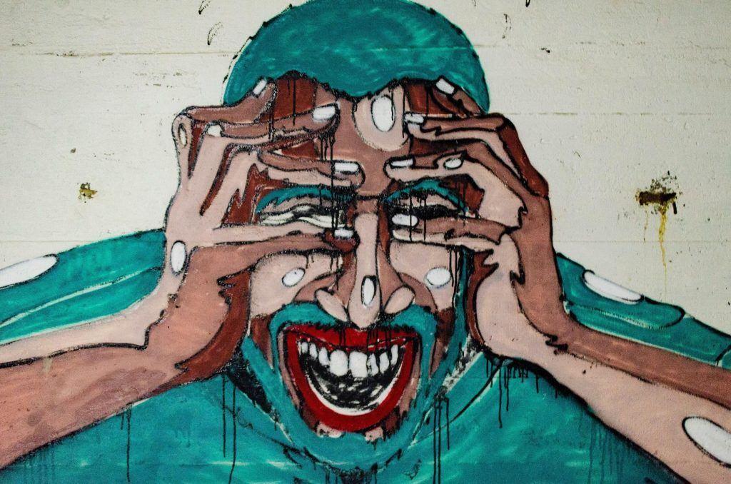 Schilderij bange man